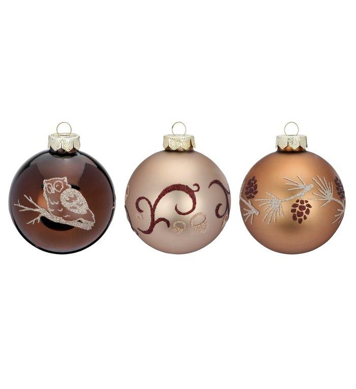 Set van 3 - Glazen elegant bruine kerstballen van 8 cm verschillend gedecoreerd