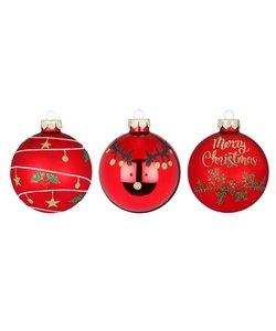 Rode Kerstballen - Merry Christmas - set van 3