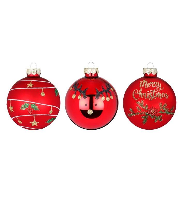 Set van 3 - Glazen kerstballen rood Merry Christmas 8 cm