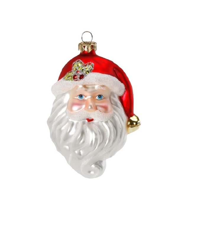 Glazen kerstman gezicht kerstboomdecoratie figuur 9,5 cm