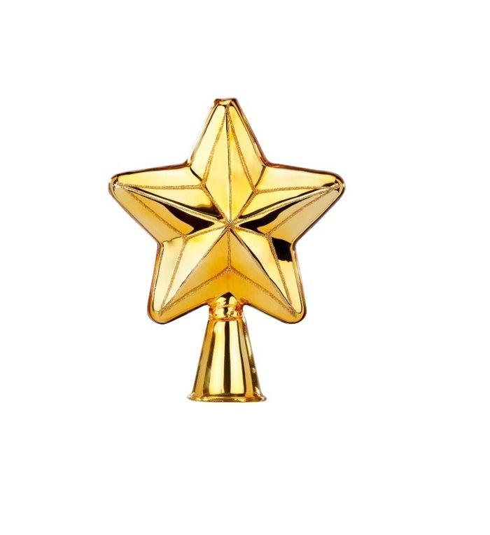 Gouden stervormige piek voor de kerstboom 17 cm