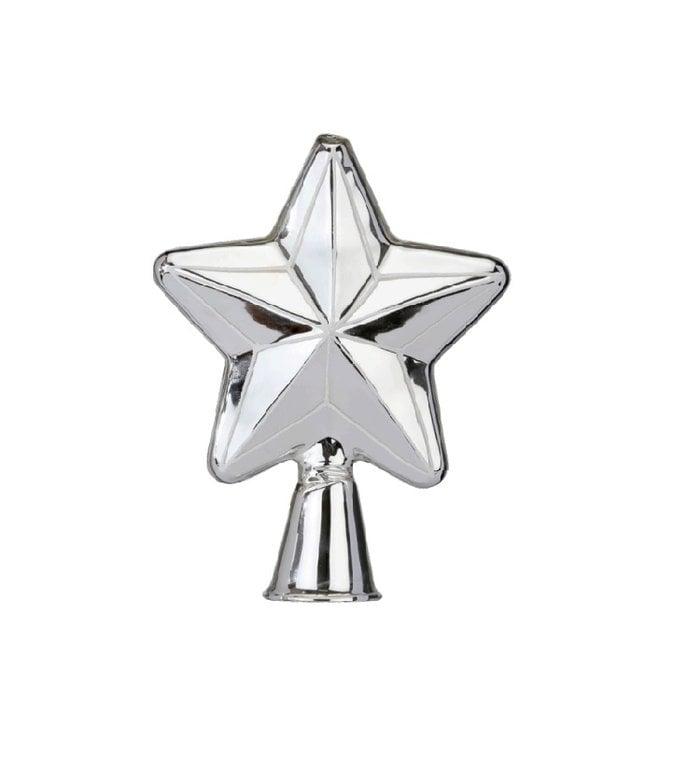 Zilveren stervormige piek voor de kerstboom 17 cm