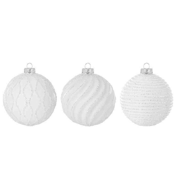 Set van 3 - Glazen witte kerstballen verschillend gedecoreerd met ribbeltje en witte glitters 8 cm