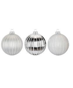 Luxe Zilveren en Witte Kerstballen - set van 3