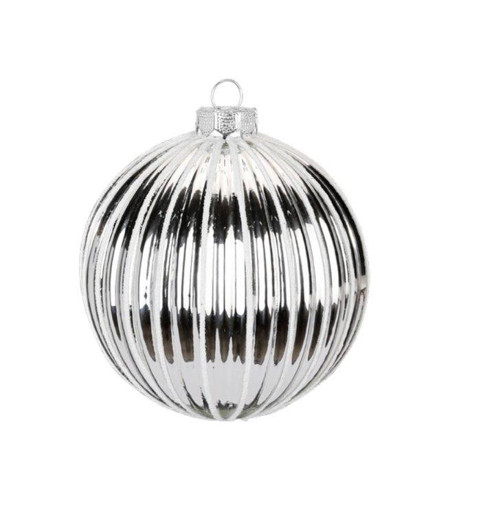 Set van 3 - Glazen kerstballen wit en zilver met een ribbeltje 8 cm