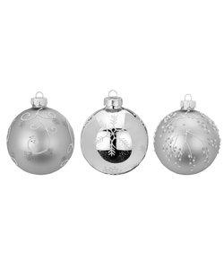 Hippe Zilveren Kerstballen - set van 3
