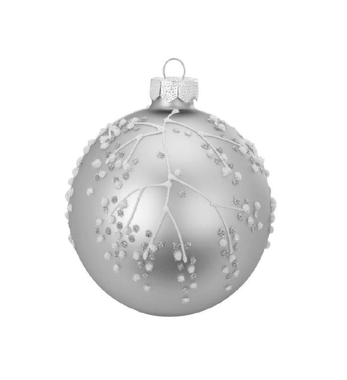 Set van 3 - Glazen hippe kerstballen zilver, verschillend gedecoreerd 8 cm