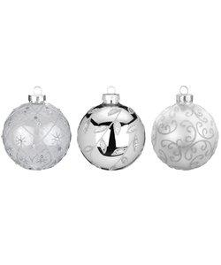 Chique Zilveren Kerstballen met Glitters - set van 3