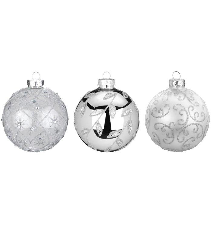Set van 3 - Glazen chique kerstballen zilver, verschillend gedecoreerd met glitters 8 cm
