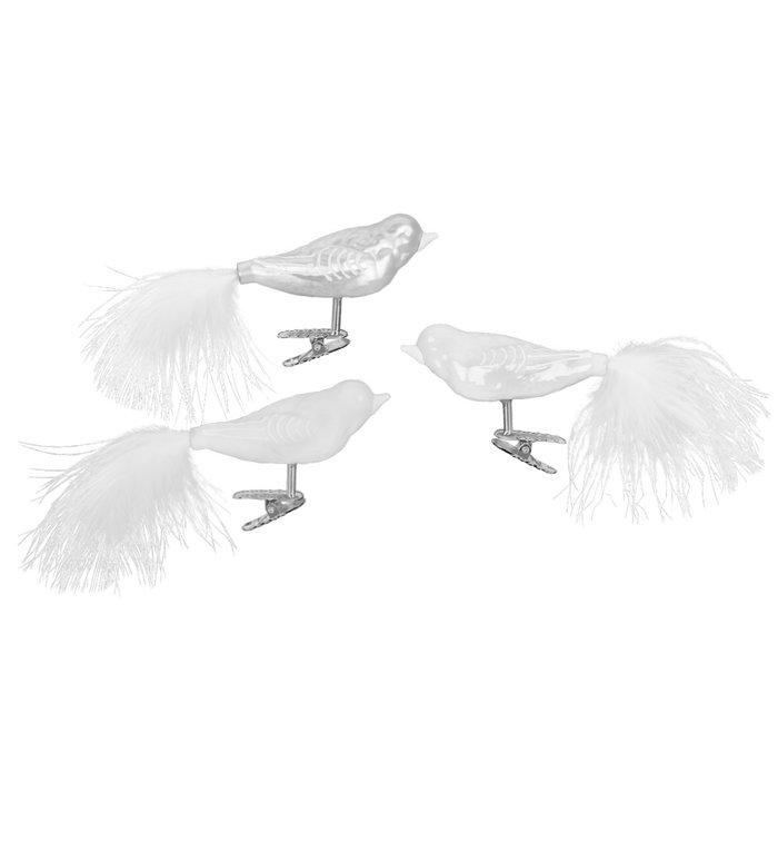 Set van 3 verschillende glazen witte en zilveren vogels op kerstboomknijper 9 cm