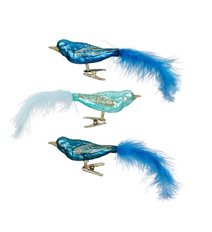 Set van 3 verschillende glazen blauwe, groene en turquoise vogels op kerstboomknijper 9 cm
