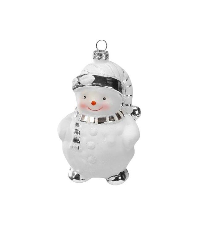 Glazen witte en zilveren sneeuwpop kerstboomdecoratie figuur 11 cm