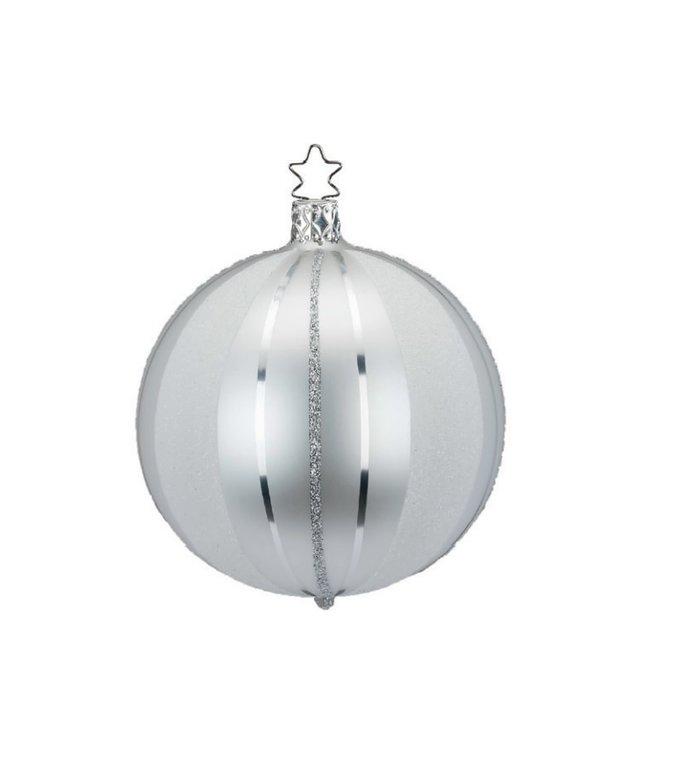 Handgemaakte zilveren kerstbal met zilveren glitter strepen 8 cm