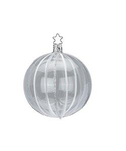 Kerstbal Transparant met Witte en Zilveren Lijnen