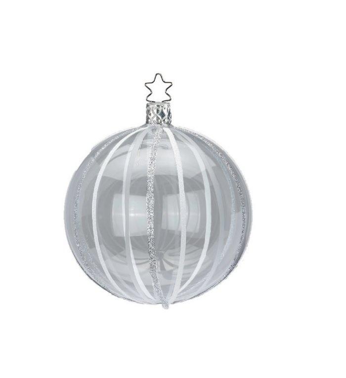 Handgemaakte transparante kerstbal met zilveren en witte lijnen 8 cm