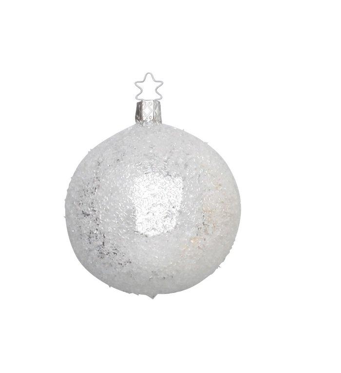 Handgemaakte zilveren glinsterend koele kerstbal 8 cm