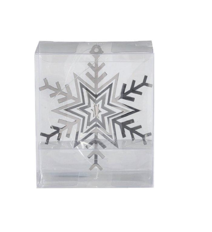 Metalen 3d sneeuwvlok kersthangers zilver set van 3 -  8 cm