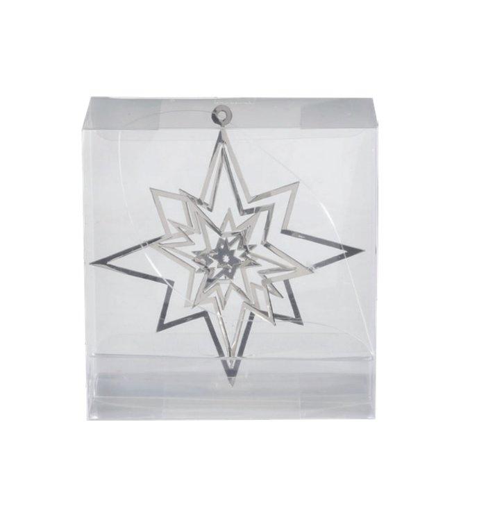Metalen 3d kerstster kersthangers zilver set van 3 -  8 cm
