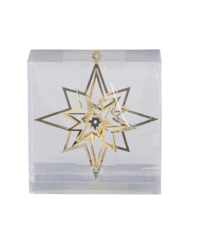 Metalen 3d kerstster kersthangers goud set van 3 -  8 cm