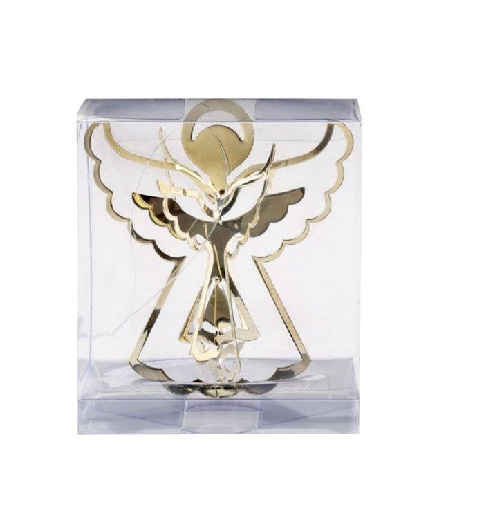 Metalen 3d engeltjes kersthangers goud set van 3 -  9 cm