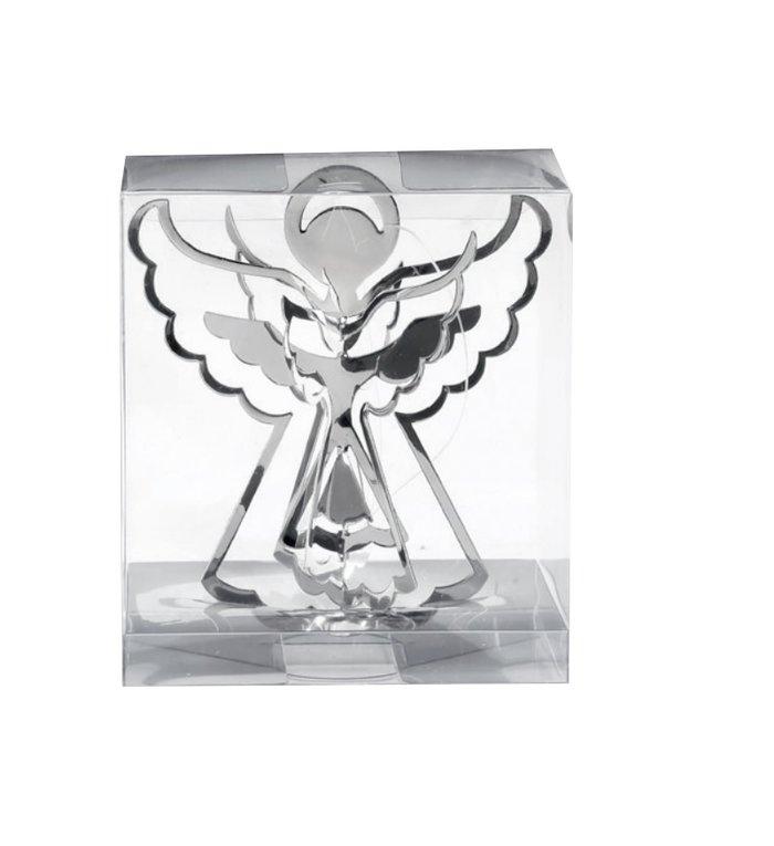 Metalen 3d engeltjes kersthangers zilver set van 3 -  9 cm