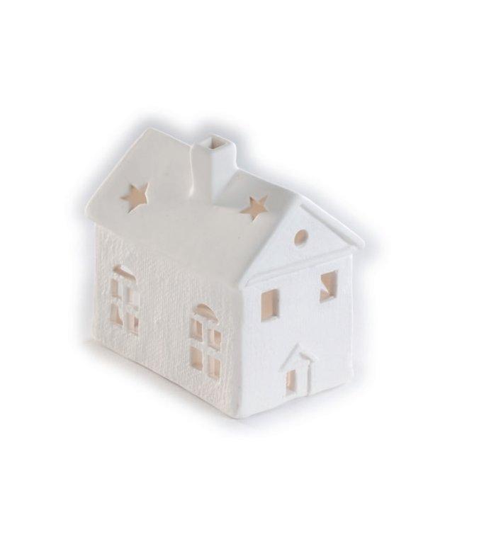 Porseleinen waxinelichtjeshouder wit huisje 9 cm