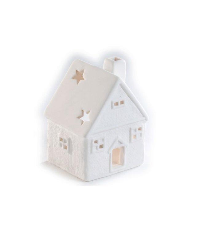 Porseleinen waxinelichtjeshouder wit kerst huisje 8 cm