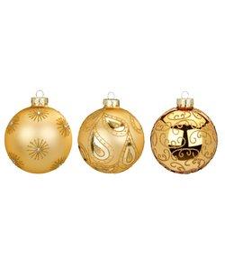 Chique Gouden Kerstballen Stijlvol Gedecoreerd - set van 3