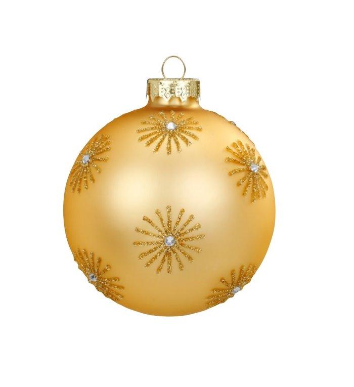 Set van 3 - Glazen chique kerstballen goud, verschillend stijlvol gedecoreerd 8 cm