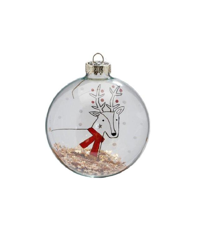 Set van 3 - Glazen kerstballen transparant, met rendier met rode sjaal en gouden sterretjes 8 cm