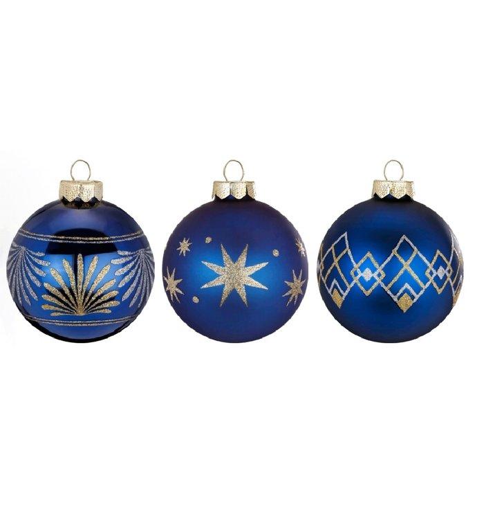 Set van 3 - Glazen hippe kerstballen nachtblauw, verschillend stijlvol gedecoreerd 8 cm