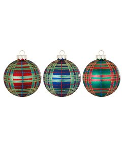 Rode, Groene en Blauwe Geruite Kerstballen - set van 3