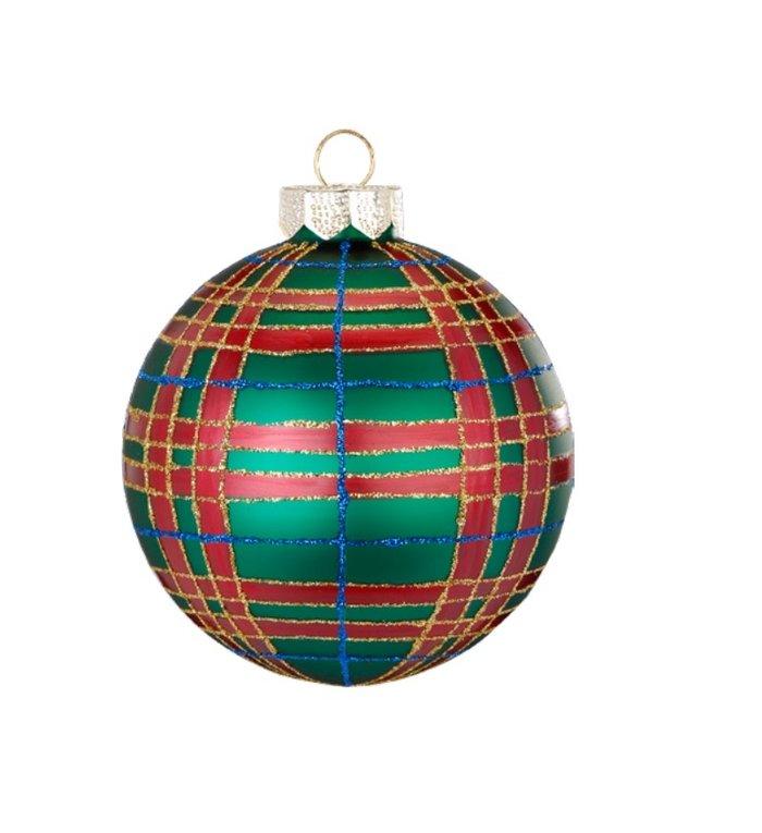 Set van 3 - Glazen ruitjes kerstballen rood, blauw en groen 8 cm