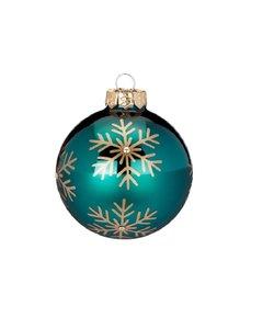 Blauwgroene Kerstballen met Gouden Sneeuwvlokken - set van 3