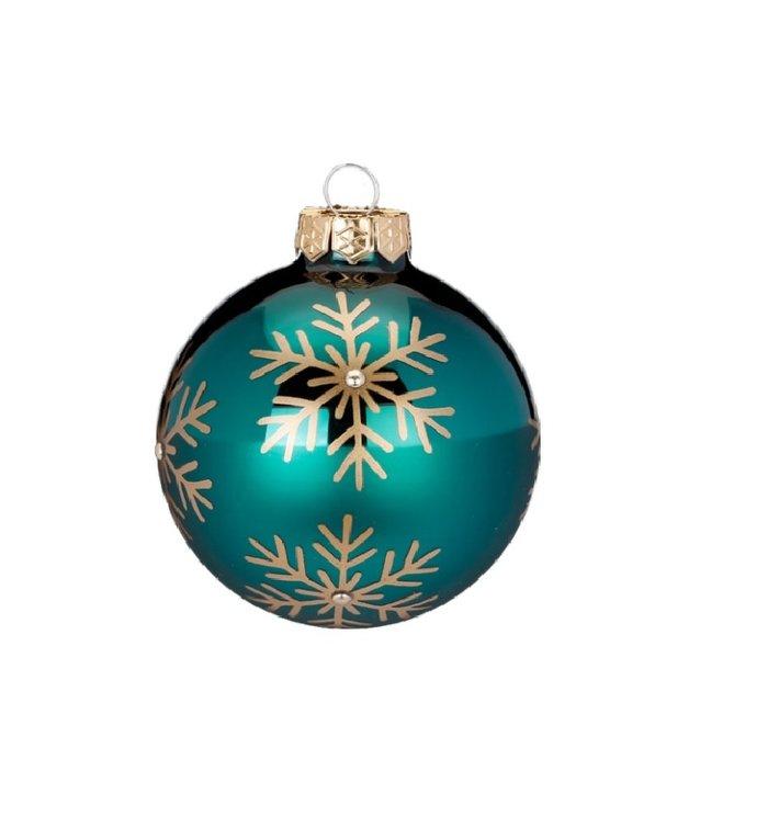 Set van 3 - Glazen kerstballen blauwgroen, met gouden sneeuwvlokken 8 cm
