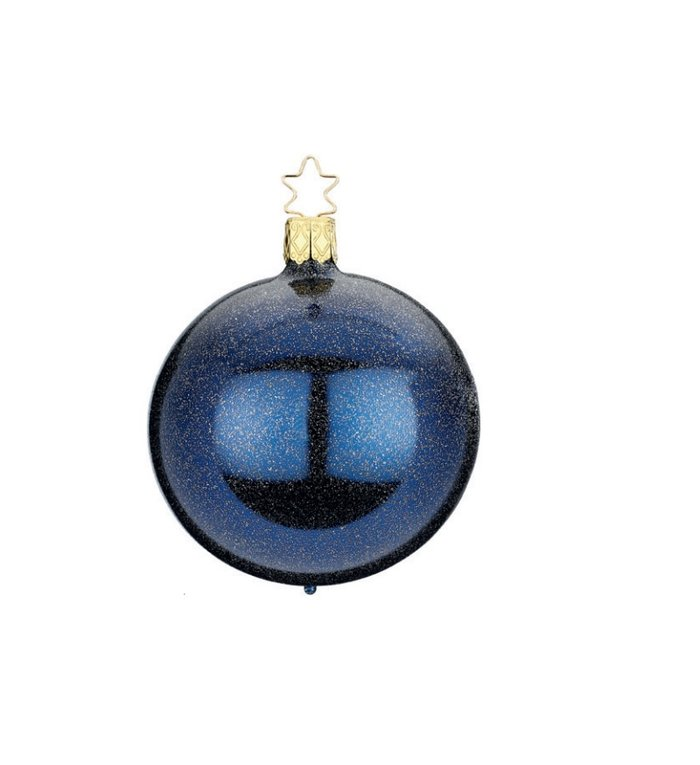 Blauwe kerstbal met chique glitter effect 8 cm - handgemaakt in Duitsland