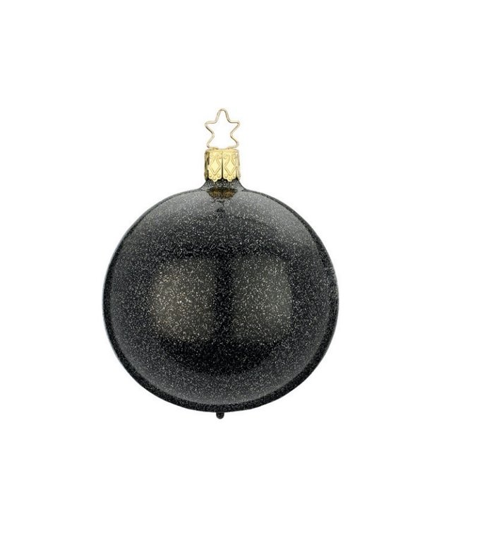 Zwarte kerstbal met chique glitter effect 8 cm - handgemaakt in Duitsland