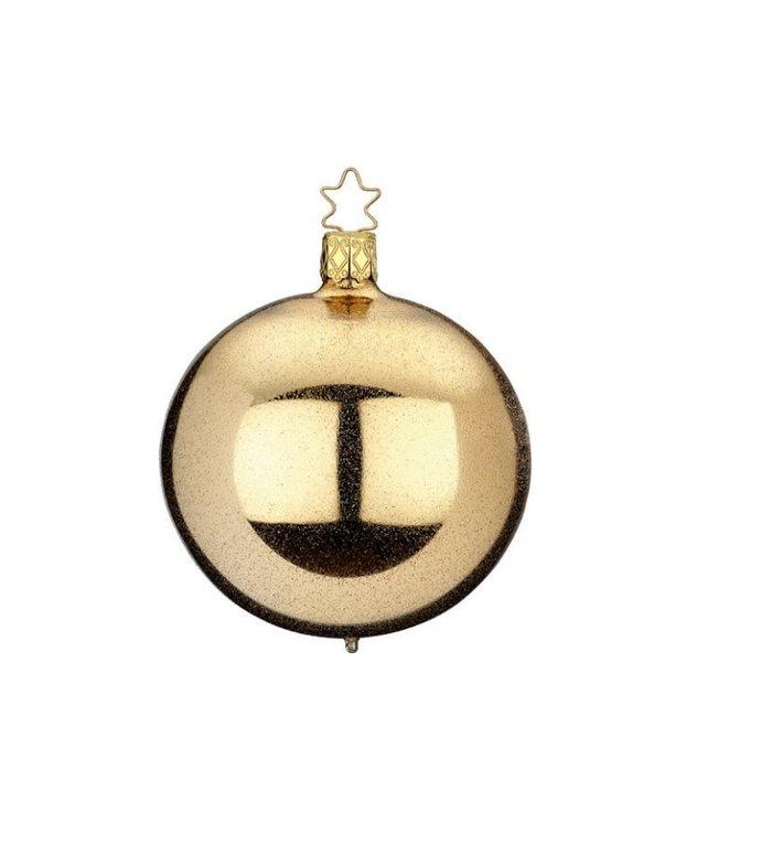 Gouden kerstbal met chique glitter effect 8 cm - handgemaakt in Duitsland