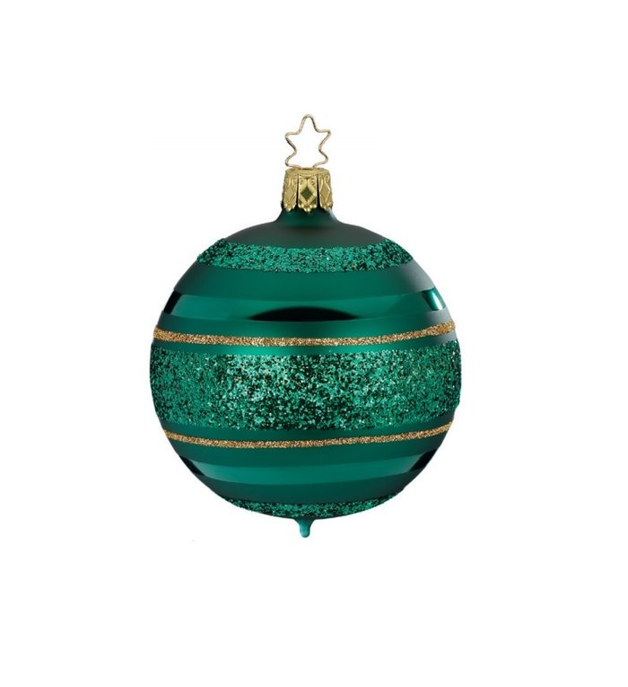 Bos groene kerstbal met gouden en groene glitterlijnen 8 cm