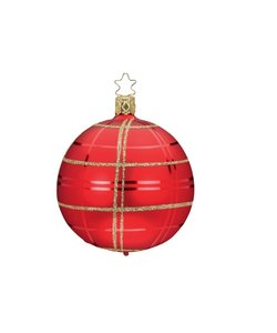 Kerstbal Chique Geruit Rood en Goud