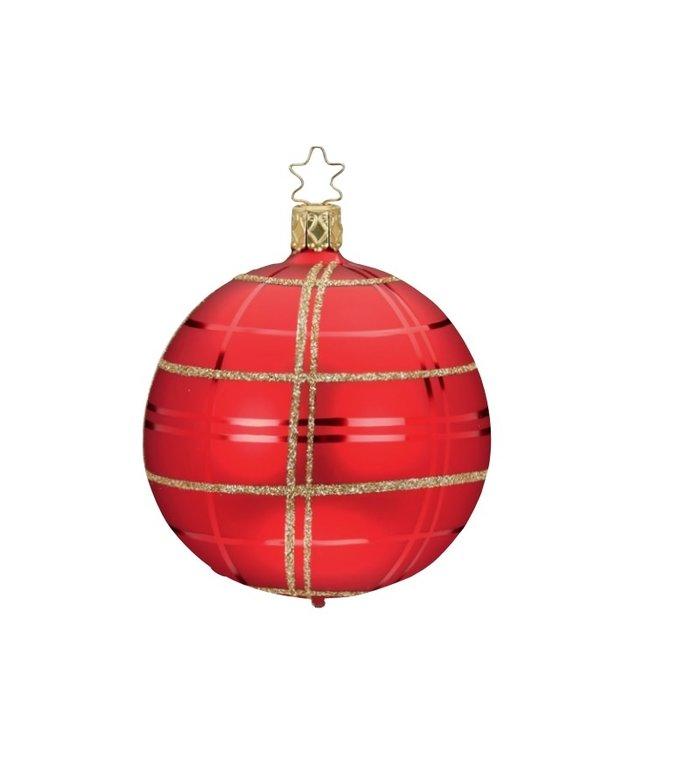 Rode en gouden kerstbal chique geruit 8 cm - handgemaakt in Duitsland