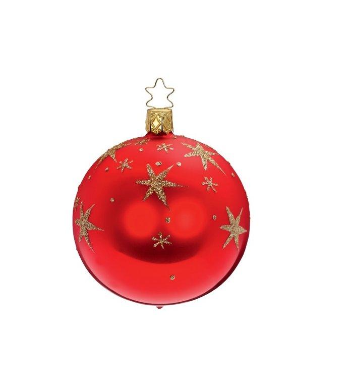 Rode kerstbal met gouden sterren  8 cm - handgemaakt in Duitsland