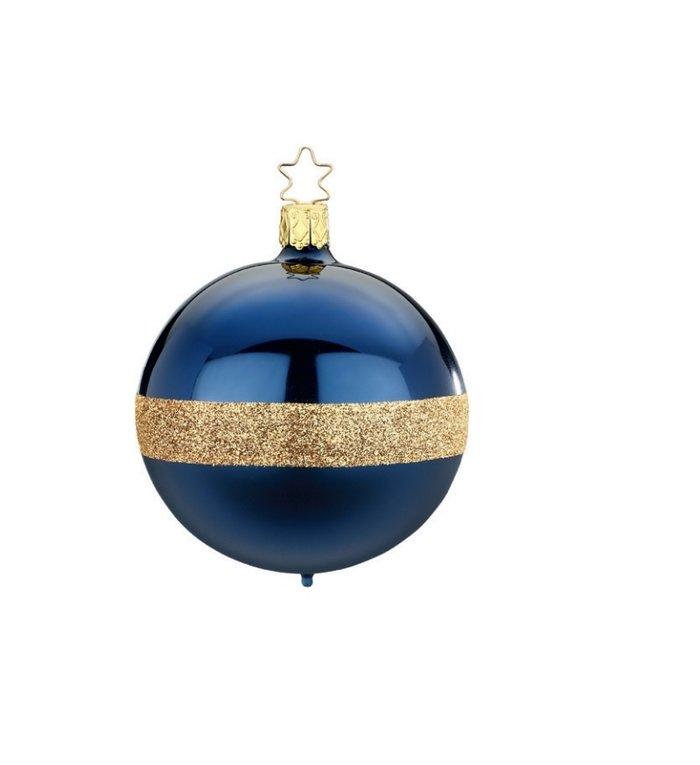 Blauwe Twin kerstbal met gouden glitters  8 cm - handgemaakt in Duitsland