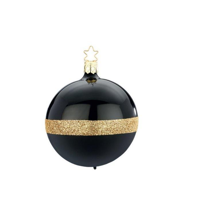 Zwarte Twin kerstbal met gouden glitters  8 cm - handgemaakt in Duitsland