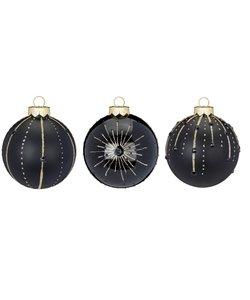 Kerstballen Zwart Deluxe - set van 3