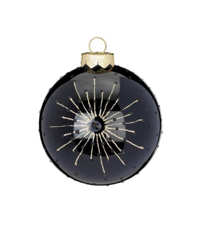Set van 3 - Glazen zwarte kerstballen deluxe 8 cm