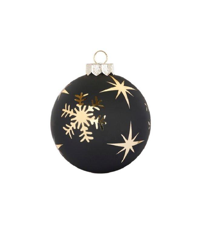 Set van 3 - Glazen kerstballen mat zwart, met gouden sterren en sneeuwvlokken 8 cm