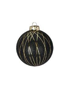 Glinsterend Zwarte Kerstballen met Gouden Lijnen - set van 3