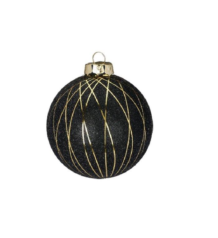 Set van 3 - Glazen kerstballen mat zwart, met gouden lijnen 8 cm