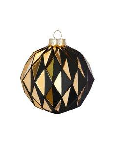 Diamanten Zwart Gouden Kerstballen - set van 2